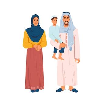 Felice uomo di famiglia musulmano con figlio sulle braccia e donna in panno nazionale isolato persone cartone animato vettore