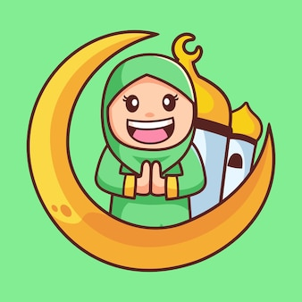 Felice personaggio dei cartoni animati della ragazza musulmana hijab