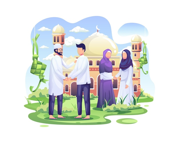I musulmani felici celebrano eid mubarak stringendo la mano nella parte anteriore dell'illustrazione della moschea