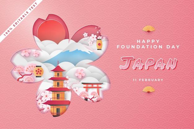 Felice giornata nazionale della fondazione giappone in stile arte taglio carta con effetto di testo modificabile