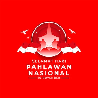 Felice giorno dei veterani nazionali banner modello indonesia bandiera sventolante