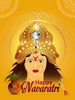 Cartolina d'auguri felice celebrazione navratri con illustrazione creativa della dea durga nad kalash