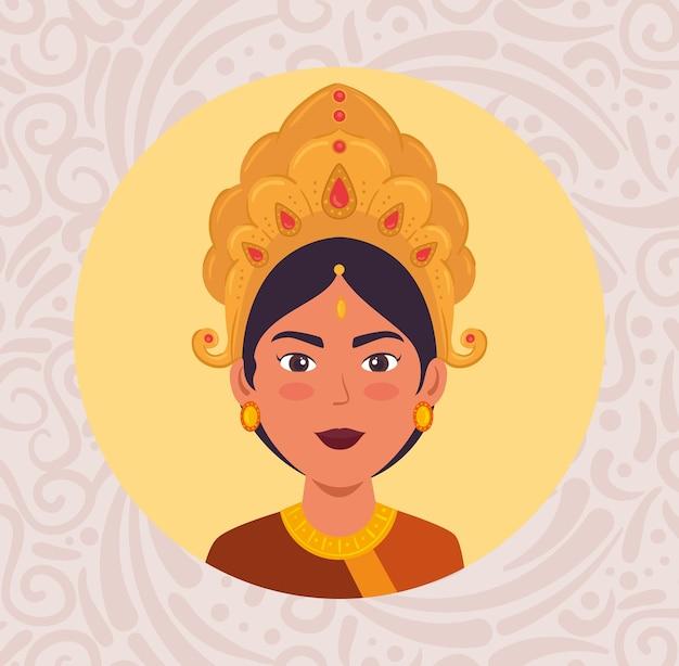 Manifesto felice di celebrazione di navratri con la faccia di maa durga nel disegno circolare dell'illustrazione del telaio