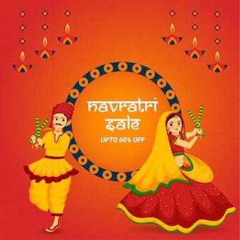 Concetto di design di celebrazione del festival indiano navratri felice vettore premium
