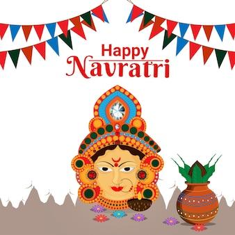Cartolina d'auguri felice del festival indiano di navratri, concetto di design piatto di navratri