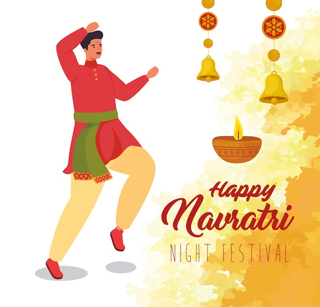 Felice navratri, poster di celebrazione del festival notturno con uomo indiano e illustrazione di decorazione