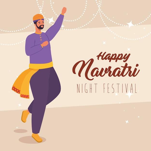 Felice navratri, poster di celebrazione del festival notturno con design illustrazione indiana dell'uomo