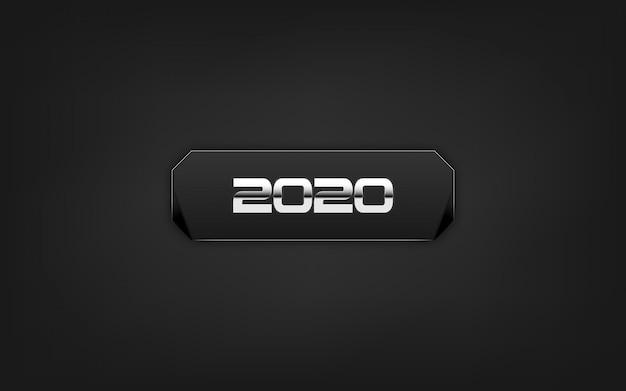 Felice nuovo anno 2020. su sfondo nero.