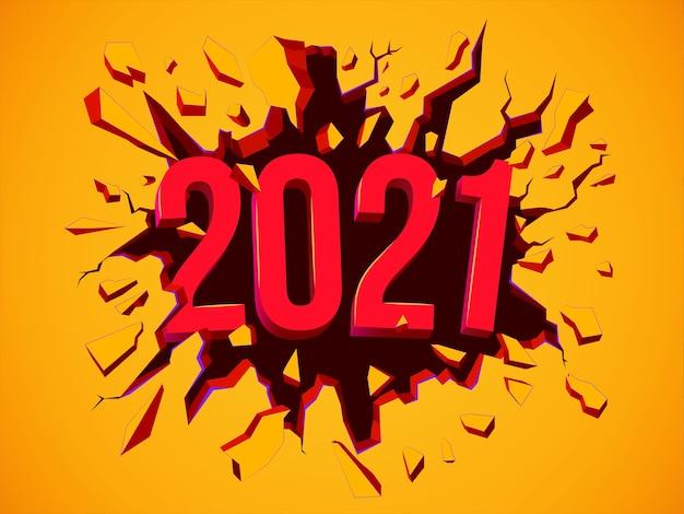 Cartolina d'auguri di felice anno nuovo 2021. illustrazione con testo 3d. volantino, sfondo, poster, invito o banner per la celebrazione della festa di capodanno 2021. sfondo colorato.