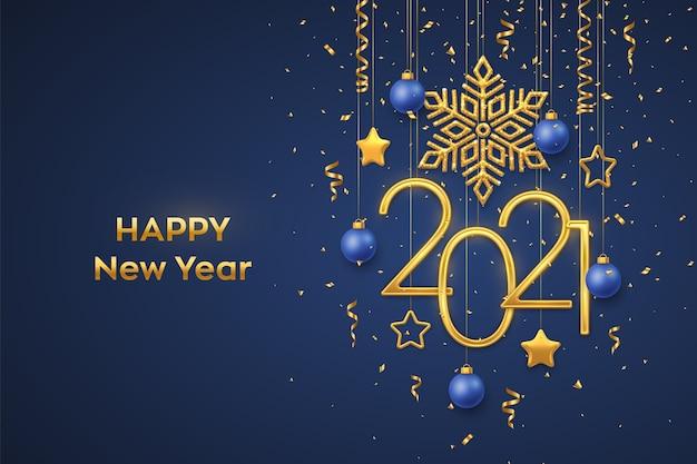 Felice anno nuovo 2021. numeri metallici dorati appesi 2021 con fiocco di neve splendente, stelle metalliche 3d, palline e coriandoli su sfondo blu.