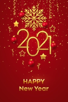 Felice anno nuovo 2021. numeri metallici dorati appesi 2021 con fiocco di neve brillante, stelle metalliche 3d, palline e biglietto di auguri coriandoli.