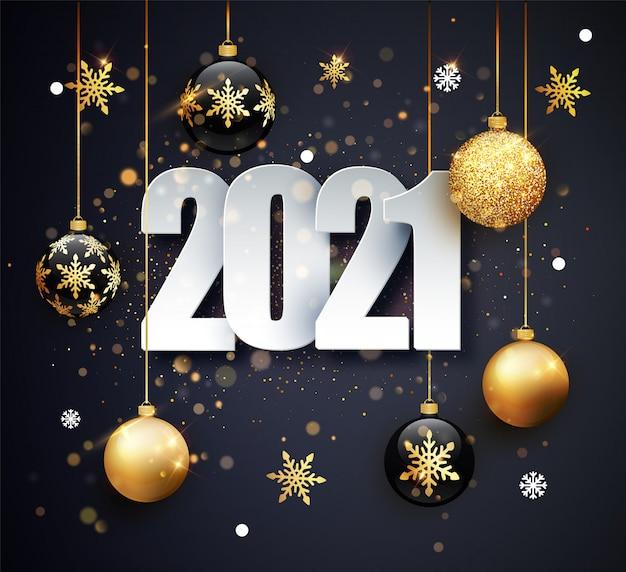 Felice anno nuovo 2021. illustrazione di festa dei numeri 2021. numeri d'oro design del biglietto di auguri.