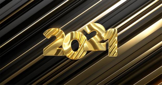 Felice anno nuovo 2021. numeri metallici 2021 su disegno a strisce nere e dorate