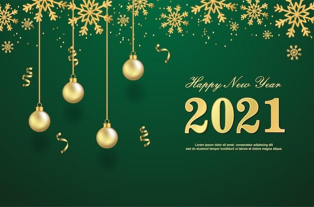 Felice nuovo anno 2021 con palline su sfondo verde.
