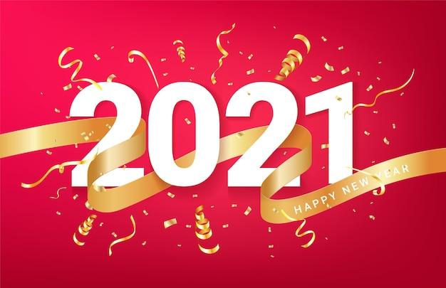 Felice nuovo anno 2021 con coriandoli dorati e nastro. felice anno nuovo sfondo festivo. Vettore Premium