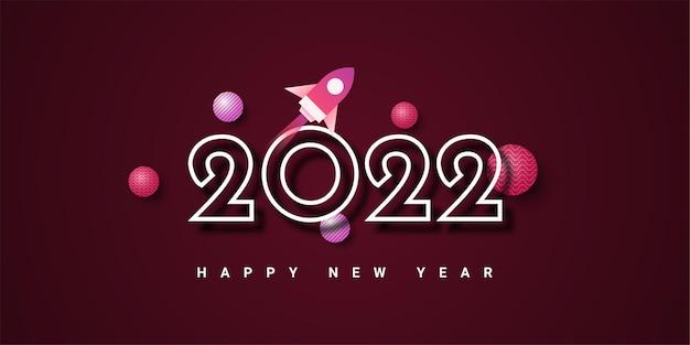 Felice nuovo modello di illustrazione 2022 design Vettore Premium