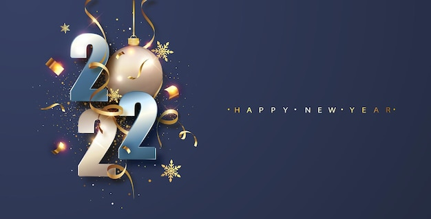 Felice anno nuovo 2022. illustrazione vettoriale di vacanza. progettazione di biglietti di auguri.