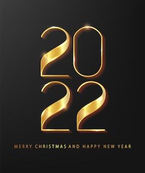 Felice anno nuovo 2022. illustrazione vettoriale di vacanza dei numeri d'oro 2022. elegante poster festivo o banner design. modello minimalista.