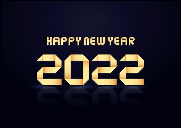 Felice nuovo anno 2022 vacanze illustrazione vettoriale di numeri d'oro 2022 elegante poster festivo