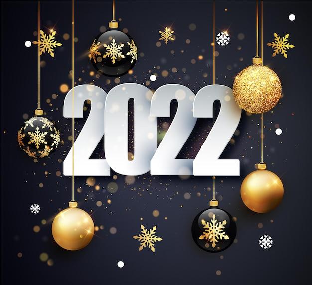 Felice anno nuovo 2022. illustrazione vettoriale di vacanza dei numeri 2022. numeri d'oro progettazione di biglietto di auguri.