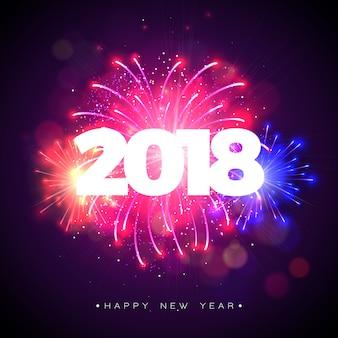 Felice anno nuovo 2018 illustrazione con fuochi d'artificio e testo 3d su sfondo blu lucido