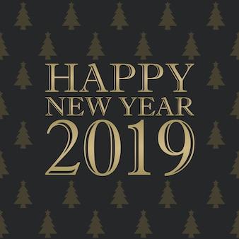 Happy new year 2019 tipografia