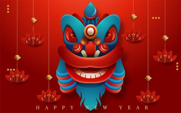 Felice anno nuovo 2020. capodanno cinese. l'anno del ratto. traduzione: felice anno nuovo. illustrazione vettoriale Vettore Premium