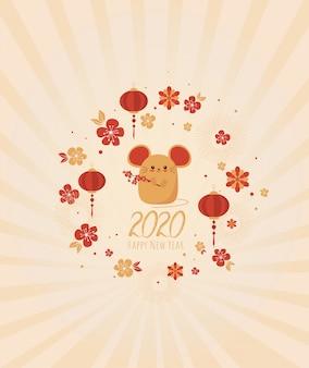 Felice anno nuovo 2020. capodanno cinese. l'anno del ratto
