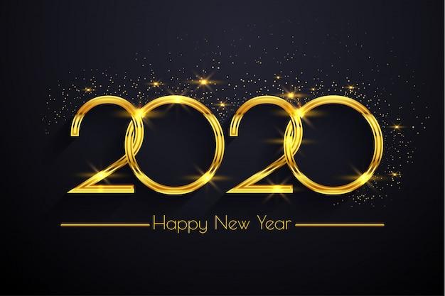 Felice anno nuovo 2020 sfondo dorato del testo