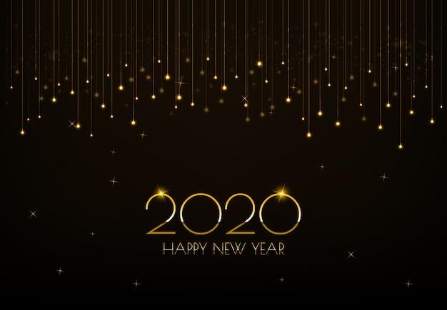 Felice anno nuovo 2020 auguri design con incandescente tenda luci dorate