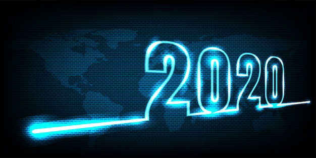 Happy new year 2020. abstract di tecnologia