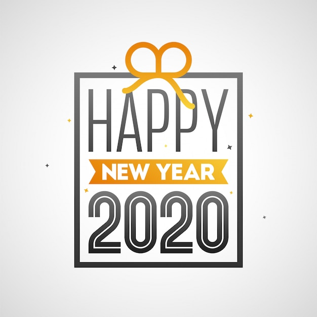 Testo del buon anno 2020 nella forma del contenitore di regalo su fondo bianco.