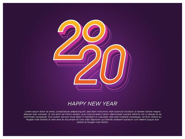 Elemento di tipografia di felice anno nuovo 2020
