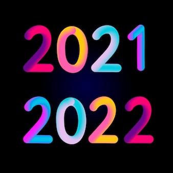 Felice anno nuovo 2021 2022 design 3d design moderno per calendario, inviti, biglietti di auguri, volantini o stampe.