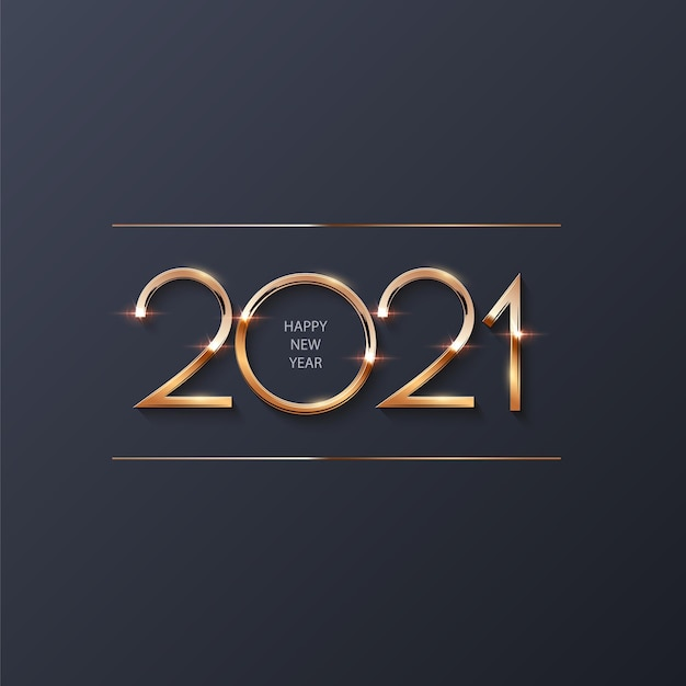 Felice anno nuovo 2021 sfondo, numeri d'oro che brillano di luce con scintillii celebrazione astratta.