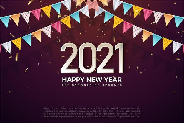 Felice anno nuovo 2021 sfondo con numeri 3d e bandiere colorate