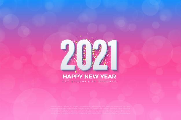 Felice anno nuovo 2021 sfondo con numeri 3d e sfondi graduati