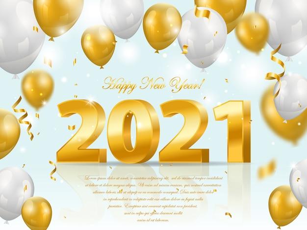 Felice anno nuovo 2021 sfondo con numeri di lusso d'oro