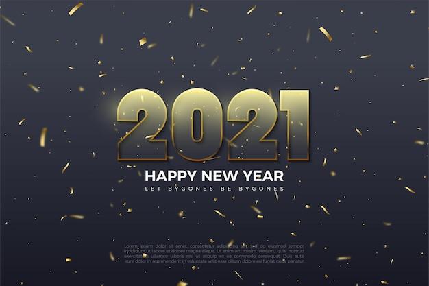 Felice anno nuovo 2021 sfondo con illustrazione di numeri graduati giallo dorato
