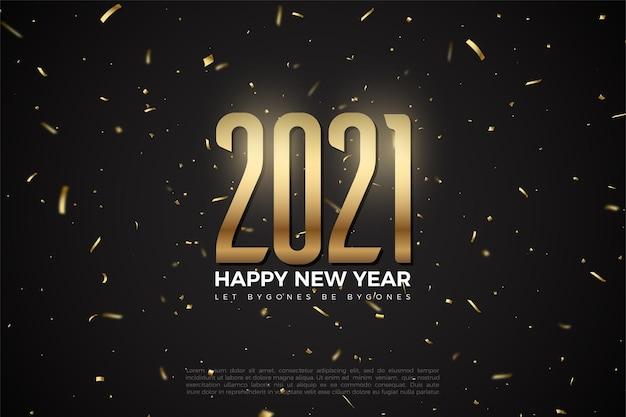 Felice anno nuovo 2021 sfondo con illustrazione di numeri e scintille di fuochi d'artificio
