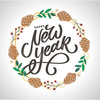 Felice anno nuovo 2021 poster bellissimo biglietto di auguri con fuochi d'artificio oro parola testo nero calligrafia.