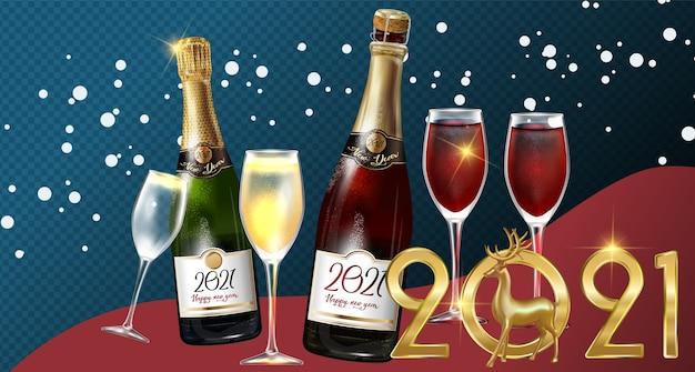 Felice anno nuovo 2021 una bottiglia di champagne su uno sfondo trasparente. illustrazione del modello di progettazione festa di capodanno con elementi: 2021 cervo d'oro