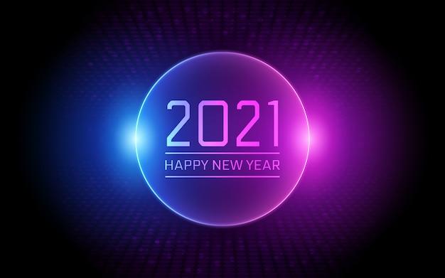Felice anno nuovo 2021 in cerchio neon luce colore di sfondo