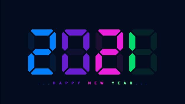 Felice anno nuovo 2021 stile orologio digitale