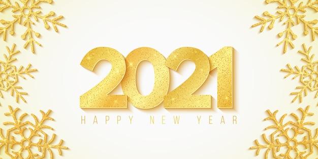 Felice anno nuovo 2021. sfondo festivo e fiocchi di neve dorati con glitter. numeri lussuosi 3d dorati.