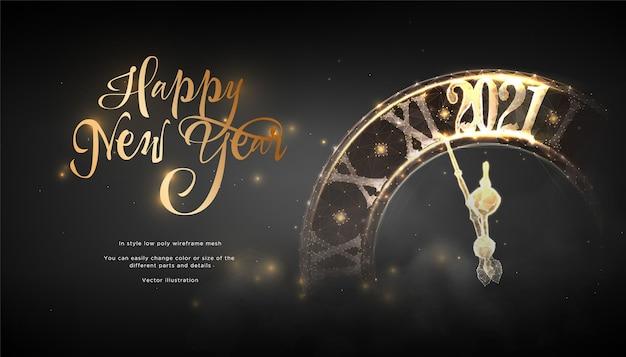Felice anno nuovo 2021 banner futuristico. l'orologio suona il carillon