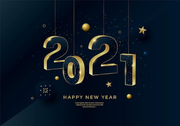 Tipografia di numeri d'oro di felice anno nuovo 2021