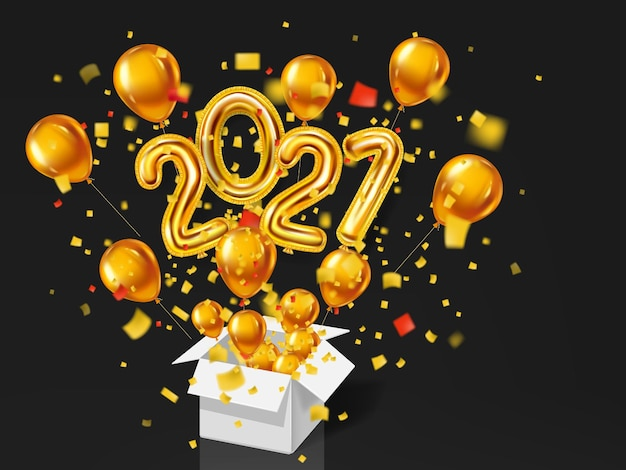 Felice anno nuovo 2021. palloncini 3d realistici in oro lamina numeri metallici e palloncini di elio, esplosione di confezione regalo di coriandoli glitter oro