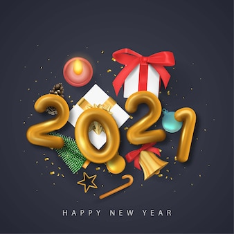 Felice anno nuovo 2021 banner di sfondo del testo dorato