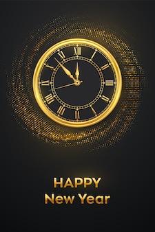 Felice anno nuovo 2021. orologio d'oro con numeri romani e biglietto di auguri di mezzanotte con conto alla rovescia